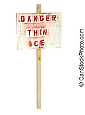danger thin ice sign isolated on a white background