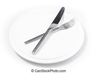 fork and knife in plate isolated on a white background