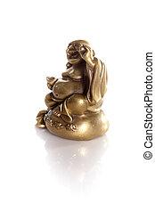 dourado, riqueza, isolado,  Buddha, fundo, branca