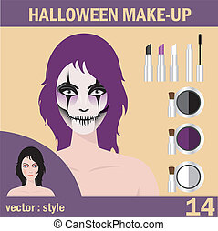 Halloween mask skull face art - Beautiful young woman in day...