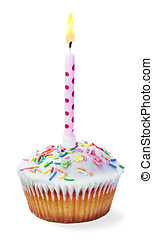 cupcake with a birthday candle isolated on a white...