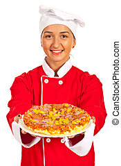 Chef woman giving pizza