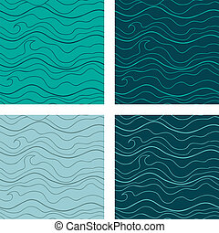 Abstract vector seamless patterns set Fancy doodle -...