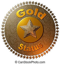 Gold Status - A golden disc with a circle of stars around it...