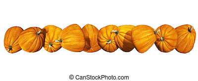 pumpkins border isolated on the white background