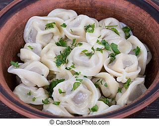 Traditional russian dish - pelmeni - Meat Dumplings -...