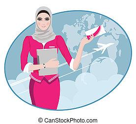 Air hostess holding ticket - Air Travel: Air hostess holding...