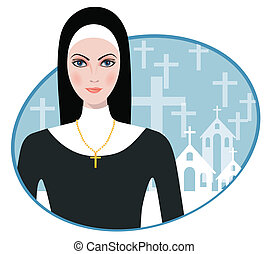 Vector illustration of Beautiful nun