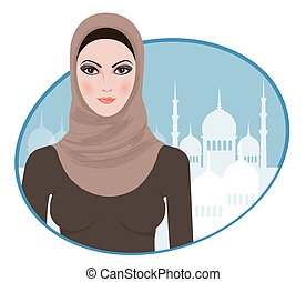 Portrait of muslim beautiful girl in hijab, vector...