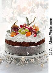 Christmas cake - Traditional Christmas fruit cake with white...