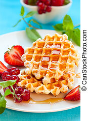 Waffles with berries - Belgian waffles with honey and...