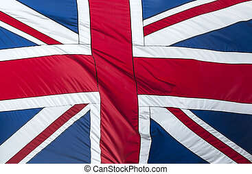Great Britain flag - Closeup of Glossy Flag of Great Britain