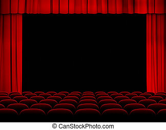 theater red auditorium with stage, curtains and seats