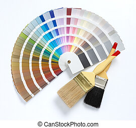 two paint brush and color chart, isolated