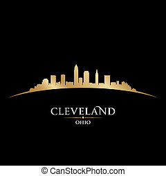 Cleveland Ohio city skyline silhouette black background -...