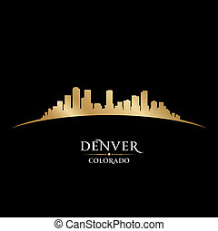 Denver Colorado city skyline silhouette black background -...
