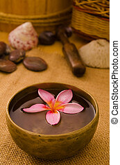Balinese Spa setting. Low lighting, suitable for spa related theme.
