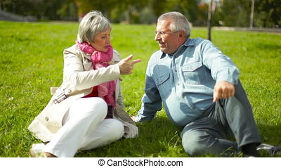 Lawn leisure - Senior couple enjoying their leisure on the...
