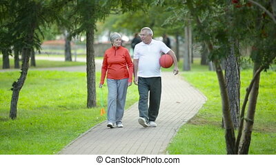 Wearing sportswear - Active seniors wearing sportswear...