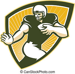 American Football Running Back Shield - Illustration of an...