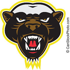Honey Badger Mascot Head - Illustration of a honey badger...