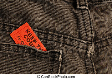 admission ticket in back pocket - ticket in back pocket of...