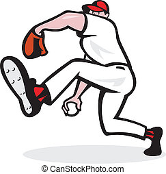 Baseball Pitcher Throwing Ball Cartoon - Illustration of an...