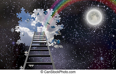 Ladder to Hole in Night Sky Reveals Day Time Skies