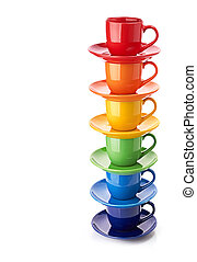 tower made from multicolored cups