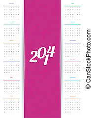 Calendar 2014 - Vector illustration of Calendar 2014