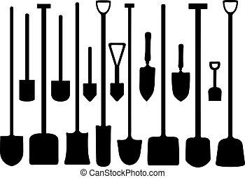 Set Of Shovels - Set of shovels isolated on white