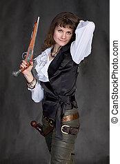 menina, -, pirata, dois, pistolas