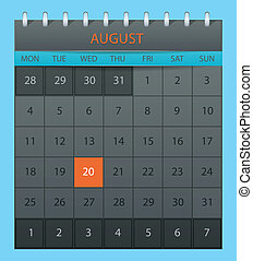 August 2014 - Vector illustration of August 2014