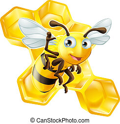 Cute Cartoon Bee and Honeycomb - A cute cartoon bee mascot...