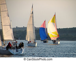 regatta - Yacht sailing with spinnakers on regatta...