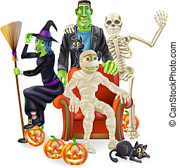 Halloween party group - A friendly happy looking cartoon...