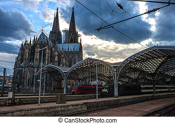 Cathedral and Main Railway station in Cologne (Koeln), Germany