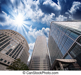 Group of Modern Buildings in London Financial District, beautifu
