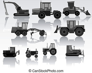 Set of icon heavy machines. - Set of simple icon of...