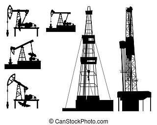 Silhouettes of units oil industry.