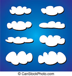 Vector white clouds on blue sky