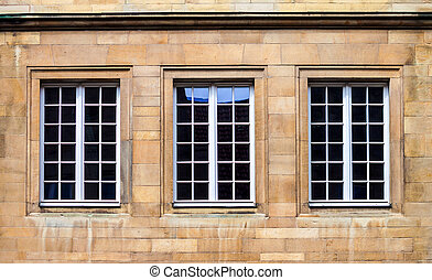 Windows of an old stone house