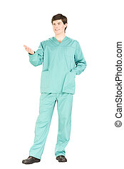 Surgeon with smile in overall