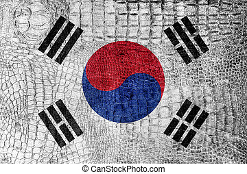 South Korea Flag on luxury crocodile texture