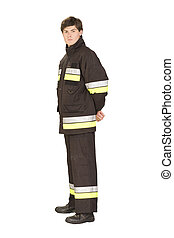 Standing fireman in overall with reflective types