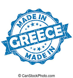 made in greece grunge seal