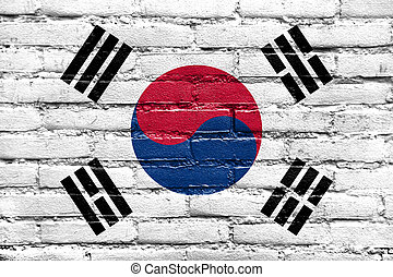 South Korea Flag painted on old brick wall