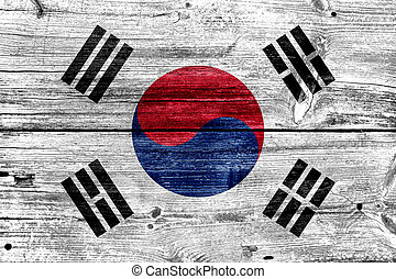 South Korea Flag painted on old wood plank texture