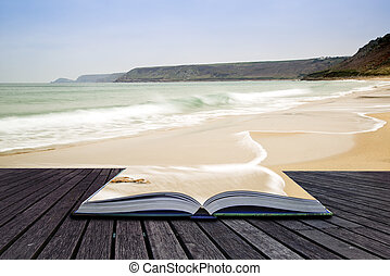 Creative concept pages of book Sennen Cove beach before...