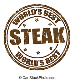 Steak stamp - Grunge rubber stamp with the word steak...